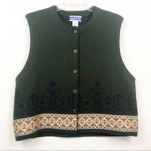 Pendleton Olive Green Button Up Vest Size XL